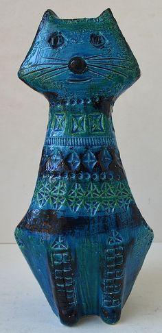 Raymor Bitossi Italy Blue Cat Aldo Londi Ceramic Art Pottery Mid Century | eBay