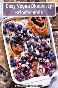 Vegan Dessert Recipes, Vegan Sweets, Vegan Recipes Easy, Brunch Recipes, Muffin Recipes, Vegan Food, Cake Recipes, Vegan Blueberry, Blueberry Jam