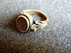 Stunning sterling silver flower ring- Men's statement ring- bohemian ring- Engraved silver ring- artisan jewelry- greek art-Men antique ring by ArchipelagosBreeze on Etsy