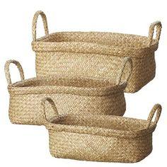 3 tailles de paniers pour ranger des jouets, du textile, des magazines...Réalisés à partir d'herbes marinesDimensions :Taille S : 40 x 24 x 20 cmTaille M : 44 x 29 x 25 cmTaille L : 46 x 30 x 27 cm