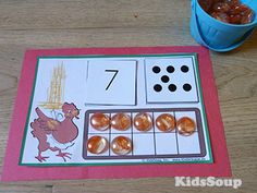 Little Red Hen number sense activity for preschool and kindergarten Eyfs Activities, Nursery Activities, Preschool Learning Activities, Preschool Activities, The Little Red Hen Preschool, Little Red Hen Activities, Hen Farm, Maths Area, Traditional Tales