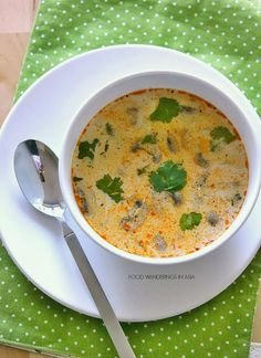 Spicy Thai Coconut Soup - Vegan, sub vegetable broth. My goodness this was easy & fragrant and delicious!