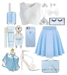 """""""Cinderella Inspired Outfit"""" by the-disney-outfits ❤ liked on Polyvore featuring WithChic, Chicwish, Steve Madden, The Cambridge Satchel Company, Disney, Casetify, Huda Beauty, Marc Jacobs and Essie"""