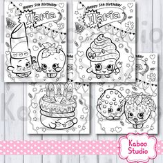 PDF with 4 personalized Shopkins Birthday Coloring Activity sheets, pages, game, favor by KabooStudio on Etsy https://www.etsy.com/listing/244651273/pdf-with-4-personalized-shopkins