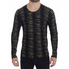 Dolce & Gabbana Black Wool Sword Print Crewneck Sweater Top