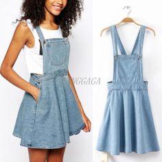 cd296ffcddd New Womens Casual Blue Jumper Dress Skater Denim Jean Skirt Overall Mini  Skirt
