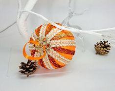 Set of 4 Christmas Ornament, Yellow Christmas decoration, Hand-crafted balls, handmade ornaments for tree, Christmas in July! Orange Christmas Tree, Christmas In July, Yellow Ornaments, Pride Colors, Xmas Tree Decorations, Handmade Ornaments, Etsy Crafts, Christmas Tree Ornaments, Balls