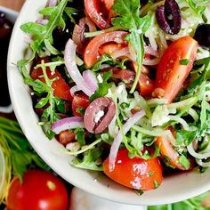 Spiralizer Recipes: Greek Cucumber and Arugula Salad