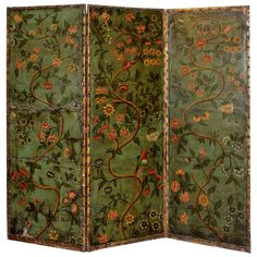 Continental Polychromed Dressing Screen   From a unique collection of antique and modern screens at https://www.1stdibs.com/furniture/more-furniture-collectibles/screens/