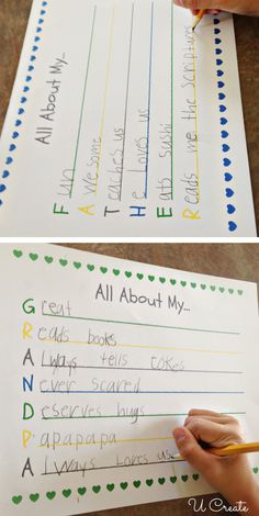 Father's Day Free Printables - so much fun to see what the kids come up with!