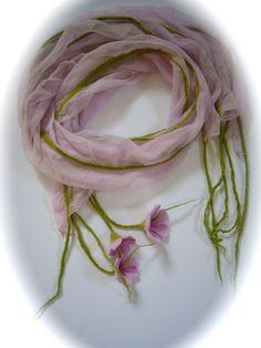 Filzschals - Schal Nunoschal Blumen.. - ein Designerstück von Filz-Art bei DaWanda