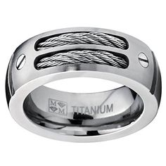 Men's Titanium Ring Wedding Band with Stainless Steel Cables and Screw Design Sizes 7 to 13 Titanium Rings For Men, Turn Photo Into Painting, Stainless Steel Cable, Unique Rings, Titanic, Wedding Ring Bands, Lapis Lazuli, Destination Wedding, Engagement Rings