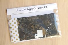 DIY Coffee Cup Sleeve Sewing Kit - Wine Labels and Metallic Gold Dots - Ready to Ship by CraftyStaci