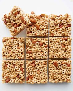 Honey Nut Cereal Bar | Martha Stewart Living - Whole-grain cereal and almonds -- which provide fiber, protein, and healthy fat -- prevent a sugar crash.