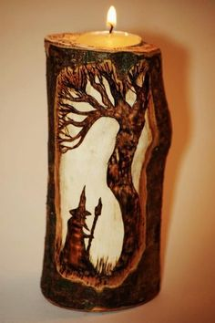 Carved wooden candle holder