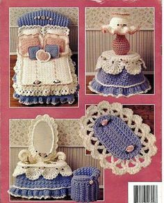 Crochet Toy Barbie Clothes Sweetheart Bedroom Vol III, Annie's Attic Fashion Doll Furniture Crochet Pattern Booklet - Annie's Attic 'Sweetheart Bedroom Vol III' Crochet Pattern Booklet Crochet Crafts, Crochet Dolls, Crochet Baby, Crochet Pillow, Crochet Furniture, Häkelanleitung Baby, Accessoires Barbie, Crochet Barbie Clothes, Doll Home