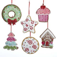 candy frosted gingersnap cookie christmas ornaments set of 6 - Candy Christmas Decorations