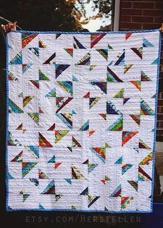 Colorful Modern lap quilt Baby quilt string quilt by Herstellen, $248.00