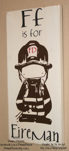 Firefighter Nursery Decorby DeenasDesign - https://www.facebook.com/DeenasDesign - $34.00
