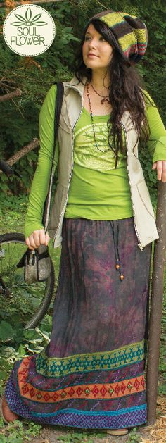 Earth Medallion Long Sleeve with the Maven Organic Zip Vest and super sweet Trampled By Patterns Skirt #soulflower #fashion