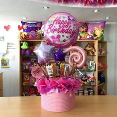 Birthday Basket, Birthday Candy, Happy Birthday Gifts, Birthday Balloons, Girl Gift Baskets, Candy Gift Baskets, Candy Gifts, Candy Bouquet, Balloon Bouquet