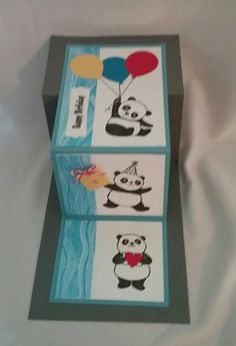 Party Pandas by Stampin Up used in a double s fold card.