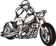 Biker on Motorcycle. Vector Illustration. Stock Photo