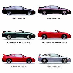 """Models"""" (SWIPE 👆) Which version do you own? The complete Eclipse model lineup for the 1999 model year - RS (Kalapana Black), GS… Mitsubishi Eclipse Gsx, Mitsubishi Eclipse Spyder, Honda Rsx, Japanese Cars, Nissan Skyline, Future Baby, Jdm, Dream Cars, Automobile"""