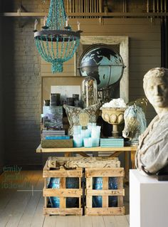great shop display - photo by Emily Followill (beautiful globe)