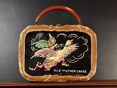 Vintage Childs Suitcase Carryall Doll Clothes Toy Storage Box Train Case Travel Luggage Mother Goose Fairy Tale Nursery Rhyme by Misinterpreted on etsy