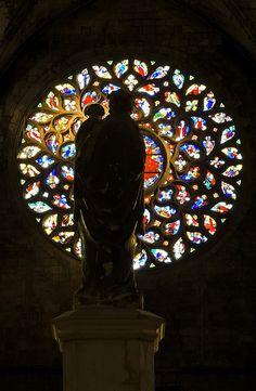 Inside Basílica Santa Maria del Mar, Barcelona (Spain)