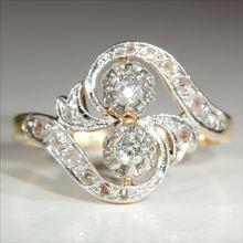 """Antique 18k and Platinum French Art Nouveau Diamond """"Moi et Toi"""" Ring"""" c.1910"""