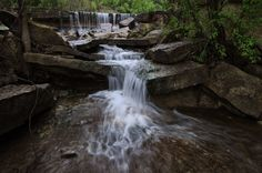 Spring Waterfall Chase County Lake; photo by Dave Leiker