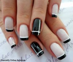 French Nails - Hello my page Hot Nails, Pink Nails, Hair And Nails, Gel Nails French, French Manicures, Black French Nails, Trendy Nail Art, Gel Nail Designs, Nails Design