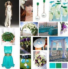 Aqua, Emerald, Purple Wedding Inspiration Board
