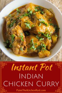 This Indian Instant Pot chicken curry is an authentic family recipe. Made with bone-in chicken the Instant Pot makes the chicken so tender and flavorful. Now you can skip the takeout and make this quick and easy chicken curry recipe at home from scratch. Best Instant Pot Recipe, Instant Pot Dinner Recipes, Butter Chicken Rezept, Quick Chicken Curry, Chicken Pasta, Cashew Chicken, Comida India, Easy Chicken Recipes, Pasta Recipes