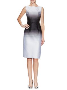 Ombre Boatneck Sheath Dress by Carolina Herrera at Gilt