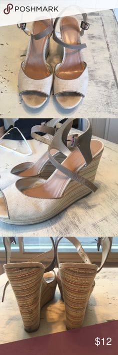 """LC Lauren Conrad Wedges These have been gently used and are in good condition. They were worn at my graduation. There are some flaws on them (pictured), but you may be able to clean them. No trades, PayPal, lowballing. Smoke free home. Same/next day shipping. 4"""" heel. LC Lauren Conrad Shoes Wedges"""