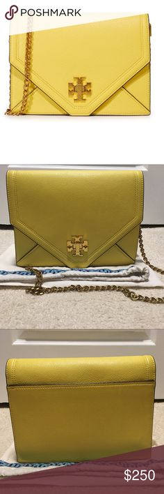 Tory Burch Kira cross-body bag Beautiful Tory Burch Kira cross body in summer yellow from their spring/summer 2017 collection. It's sold out everywhere!Nice bright yellow color with vintage brass hardware. Pre-owed with gentle care. Tory Burch Bags Crossbody Bags