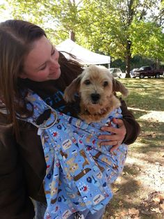 2caad9a6df2 Blue and brown dog themed ring sling for carrying your pet