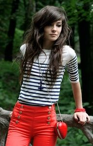 Striped navy and white shirt. Red hight waist jeans....I want something like this!