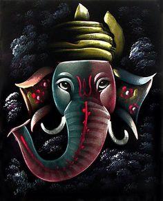 Ganesha Painting, Ganesha Art, Lord Ganesha, Indian Gods, Indian Art, Ganesh Rangoli, Velvet Painting, Lord Shiva Pics, Chinese Landscape Painting