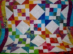 """bright batiked baby quilt 40""""x40"""""""