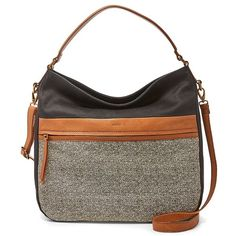 Fossil Corey Hobo ($208) ❤ liked on Polyvore featuring bags, handbags, shoulder bags, white handbags, hobo crossbody, straw shoulder bag, crossbody purses and straw handbags