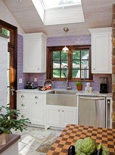 Purple kitchen tile, country kitchen, apron sink.