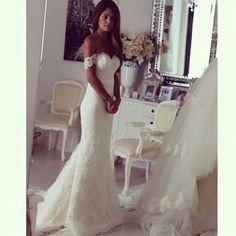 Off Shoulder White Lace Wedding Dress,Mermaid Wedding Dresses,Wedding