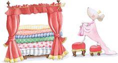 El vinilo para habitaciones infantiles, La Princesa y el guisante nos traslada al popular cuento, pero aquí la princesa es una simpática ratita que para subir a su cama cargada de colchones se tiene que servir de dos taburetes a modo de escalera.  Es de Sueños de Cigüeña y se compone de siluetas recortadas.  Es lavable.  Lo podéis encontrar en:  http://www.aqinteriores.es/vinilo-para-habitacion-infantil-la-princesa-y-el-guisante_1014.html
