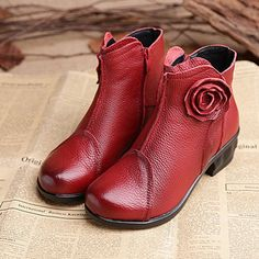 Designer Flower Leather Pure Color Vintage Flat Ankle Boots - NewChic Mobile