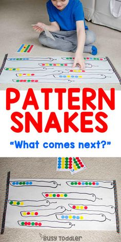 Pattern Snakes: An Easy Patterning Activity busytoddler toddler toddleractivity easytoddleractivity indooractivity toddleractivities preschoolactivities homepreschoolactivity playactivity preschoolathome 501588477244783947 Preschool Learning, Kindergarten Activities, Toddler Activities, Preschool Activities, Indoor Activities, Educational Activities, Toddler Preschool, Family Activities, Teaching Patterns