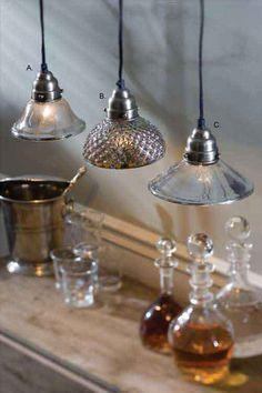 Chez Renee - ANTIQUED MERCURY GLASS PENDANT LIGHTS